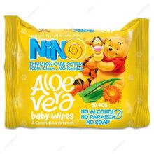 دستمال مرطوب کودکان نینو Aloe Vera بسته 20 عددی