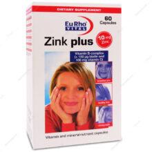 کپسول زینک پلاس Zinc plus یوروویتال 60 عددی