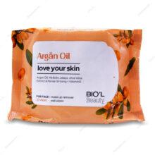 دستمال مرطوب پاک کننده آرایش Argan Oil پوست خشک بیول 20 عددی
