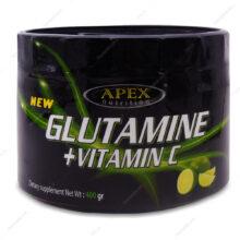 پودر گلوتامین+ویتامین ث Glutamine+Vitamin C طعم لیمو اپکس 400g