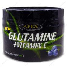 پودر گلوتامین+ویتامین ث Glutamine+Vitamin C بلوبری اپکس 400g