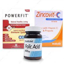 پک قرص پاورفیت هولیستیکا 32 عددی + قرص فولیک اسید + قرص زینکوویت هلث اید