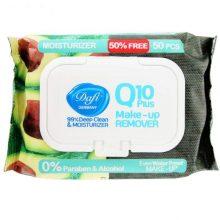 دستمال مرطوب پاک کننده آرایش دافی Q10 PLUS بسته 50 عددی
