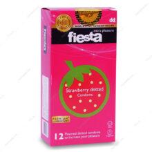 کاندوم توت فرنگی خاردار Strawberry dotted فیستا 12 عددی